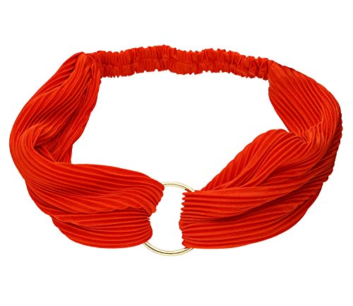 SIX Modisches Haarband rot in gerippter Optik und mit goldfarbenen Metall-Ring in der Mitte (456-846)