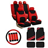 FH Group FB030115 Combo Set: Light & Breezy Cloth Seat Cover Set + F11300BLACK Floor mats, Red/Black- Fit Most Car, Truck, SUV, or Van