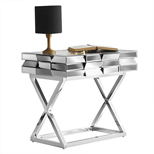 Knightsbridge - Grey Silver Mirrored Side Table With Drawer 3D Glass Effect & Chrome Crossed Legs