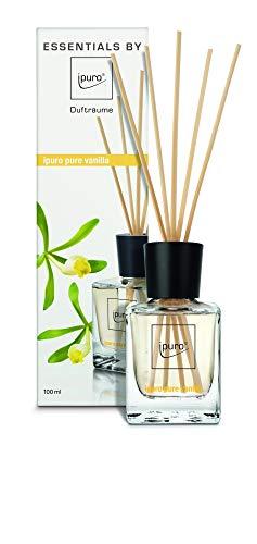 ipuro Essentials Raumduft pure vanilla - Raumduft für ein köstlich gutes Raumklima - Lufterfrischer mit hochwertigen Inhaltsstoffen (100ml)- aus Glas mit Rattanstäbchen