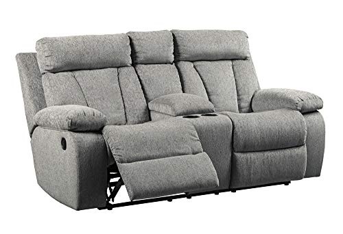 Signature Design by Ashley - Mitchiner Contemporary Upholstered Double Reclining Loveseat - Console - Light Gray