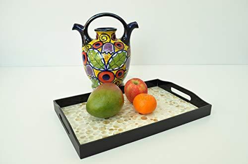vnhomeware Plateau rectangulaire en bois fait à la main, plateau décoratif laqué et incrusté de nacre, petite taille, crème et noir, H061S