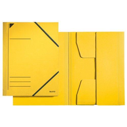 Leitz Hoekspannermap, A4, vulhoogte 350 vel, Primaire karton, geel, 25 stuks