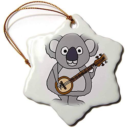 Blake55Albert All Smiles Art Animals Cute Funny Koala Bear Playing Banjo Music Cartoon Christmas Ornaments for Kids Christmas Tree Decoration Ceramic 3 Inches
