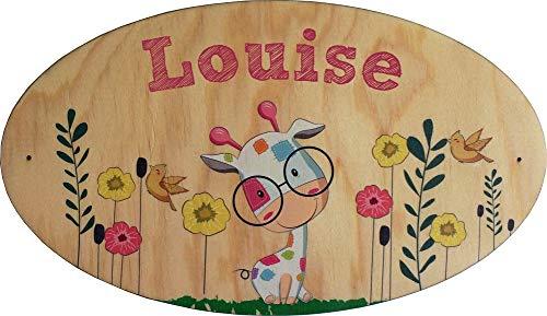 Plaque de Porte en bois personnalisée pour une Chambre d'enfant Girafe Sophie - Le prénom de la plaque en bois est personnalisable - cadeau de naissance personnalisé bébé Décoration