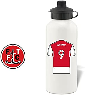 Fleetwood Town FC Official Personalized Aluminium White Water Bottle with Spring Hook (600ml) - Free Personalization