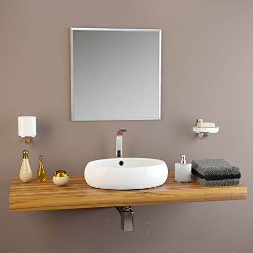 glasshop24 Badezimmer-Spiegel Wandspiegel Bad-Spiegel Silber | Spiegel ohne Rahmen, Spiegel zum Aufhängen mit Befestigungsset | Mit Facette | BxH 70x70 cm