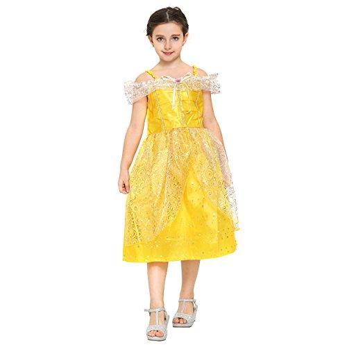 Katara 1749 - Prinzessinen-Kleid Bella / Belle Aus Disney's für Karneval, Halloween, Prinzessin-Kindergeburtstag, gelb