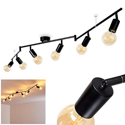 Deckenleuchte Maidford, Deckenlampe aus Metall in Schwarz, 6-flammig, mit verstellbaren Strahlern, 6 x E27-Fassung max. 60 Watt, Spot im Retro/Vintage Design, für LED Leuchtmittel geeignet