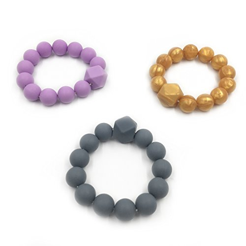 Buy Discount Amyster 3pcs Baby Teether Gift Silicone Bracelet BPA Free Silicone Beads Teething Chew ...