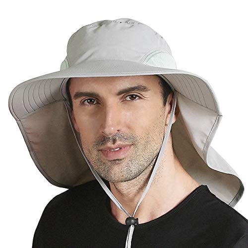 CHIC DIARY Sonnenhut Sommer UV Schutz Schirmmütze Safari Hut mit Nackenschutz Unisex Fischerhut für Outdoor Angeln Wandern