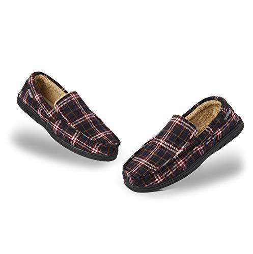 Dunlop Zapatillas Casa Hombre | Pantuflas Estilo Mocasines Cerradas | Zapatillas de Casa Invierno Calientes Suela de Goma Dura | Regalos Originales para Hombre (46 EU, Azul Marino y Burdeos)