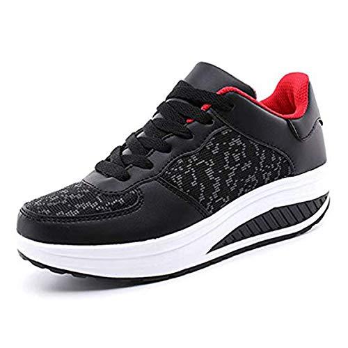 Zapatillas Deportivas Mujer Calzado Deportivo para Adelgazar y Elásticas Zapatos de Plataforma de Cuña de Fitness Zapatos Casuales Zapatillas de Andar Antideslizantes Portátiles Cómodas Marrón, 38 EU