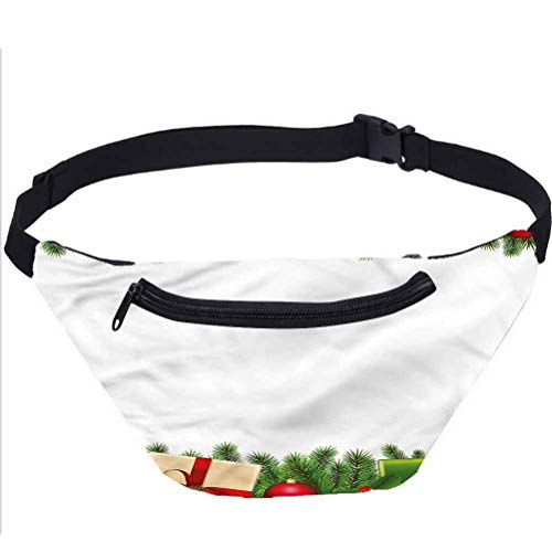 Christmas Fanny Pack Bag,Classic Tree Garland Running Travel Sports Bags for Men Women Coworker