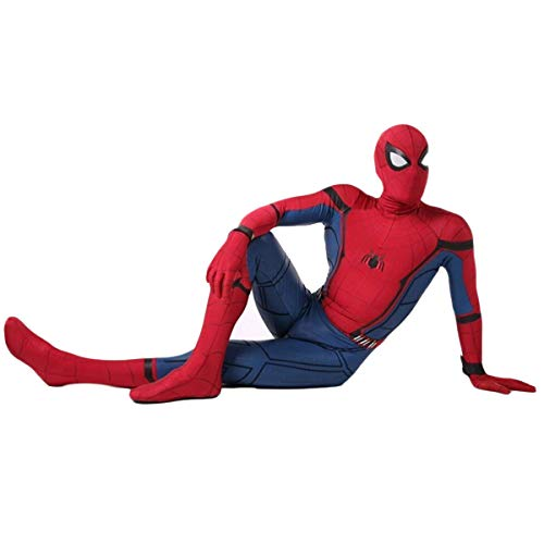 Adulte Super-héros Spiderman Bataille Costume Maigre D'une Seule Pièce Costume Spiderman Cosplay Spandex/Lycra, Halloween Carnaval Cosplay Costume Red(Head and body apart)-XL