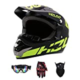 YUCARAC Casco da Cross per Adulti, Kit per Casco da Fuoristrada Casco Integrale Unisex Enduro Quad...