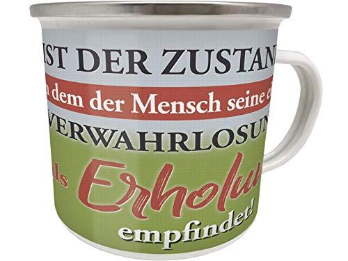 Blechwaren Fabrik Braunschweig GmbH Emaille Becher 0,5 L - Camping - Zustand - VERWAHRLOSUNG - ERHOLUNG Camper EB77