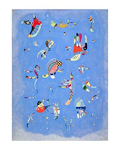 Stampa in Tela Canvas 100% QUALITà ITALIA - Kandinsky - Blue sky - effetto Dipinto Idea Regalo Casa quadro cucina stanza da letto soggiorno (80x105 cm)