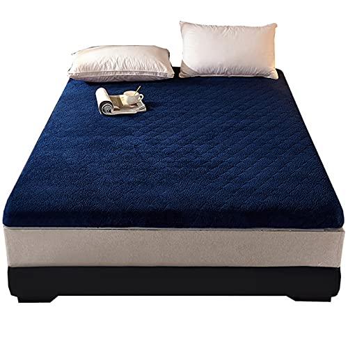 JMBF Tatami, materasso da 6 cm in peluche addensato materasso antiscivolo trapuntatura Tatami materasso giapponese pieghevole futon mat singolo matrimoniale topper per adulti bambino, blu 180 x 200 cm