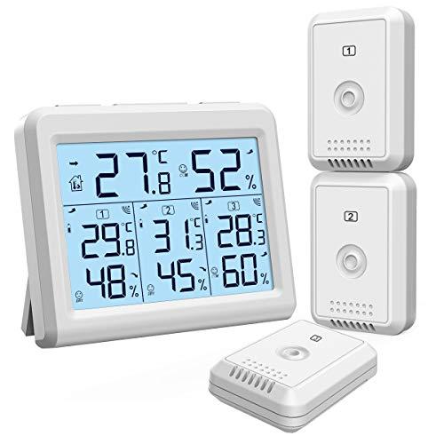 ORIA Thermometer Hygrometer, Innen Außen Thermometer mit 3 Außensensor, Hintergrundbeleuchtung & Großes LCD Display, Min/Max Aufzeichnungen, ℃/℉ Schalter, Ideal für Büro, Zuhause - Weiß