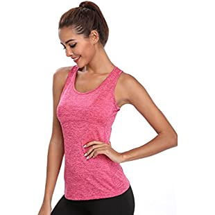 Joyshaper Dry Fit Vest Top Women Compression Tank Sweat Shirt T-Shirt Tee Quick Activewear Sleeveless Sports Workout Athletic Fitness Running (Pink, X-Large)