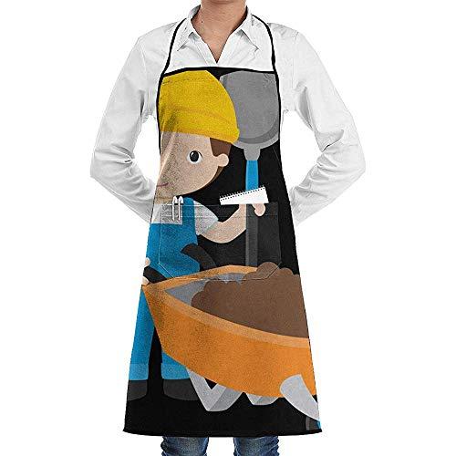 AllenPrint Küche Schürzen,Karikatur-Arbeiter-Berufsdrucken-Schellfisch-Küchen-Schürze 52X72Cm
