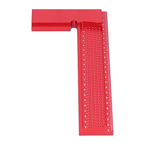 Herramienta tachada, regla de medición de aleación de aluminio portátil, multifunción resistente al desgaste para medir y marcar(Cuadrado del sistema métrico de 200 mm)