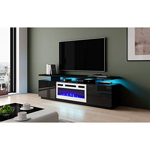 """Meble Furniture Eva-KWH Electric Fireplace Modern 71"""" TV Stand"""