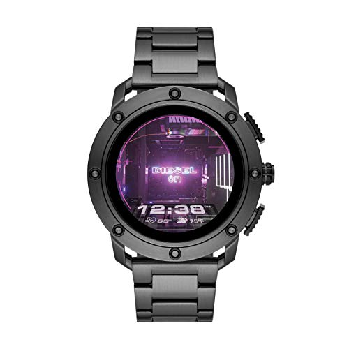 Diesel On Men's Gen 5 Axial HR Heart Rate Stainless Steel Touchscreen Smart Watch, Color: Gunmetal (Model: DZT2017)