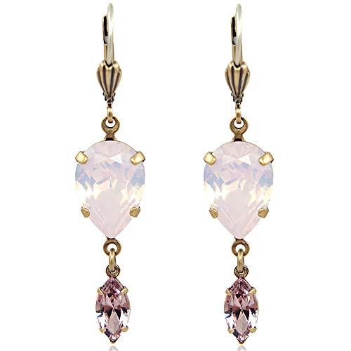 Ohrringe mit Kristallen von Swarovski Gold Rosa NOBEL SCHMUCK