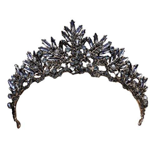 Frcolor Vintage Barock Krone Legierung Prom Quenn Krone Braut Tiara Hochzeit Kopfschmuck (schwarz)