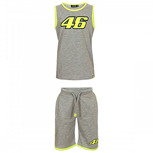Valentino Rossi VRKCE308605004, VR46 Moto GP Classic Kinder Summer Set Offizielles Grau 2018, Grey, 8-9 Years