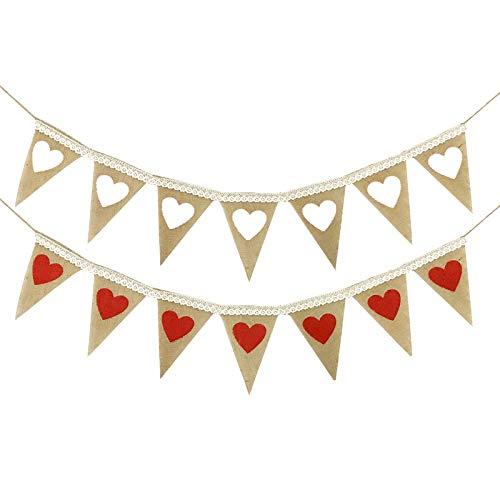 2 st spets kärlek hjärta mönster bröllopsbanderoller, linne retro trianglar, bröllop födelsedagsfest dekoration