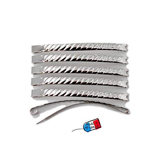 Lot de 12 barrettes cheveux Fildor métal torsadé argenté Made in France 5.8cm