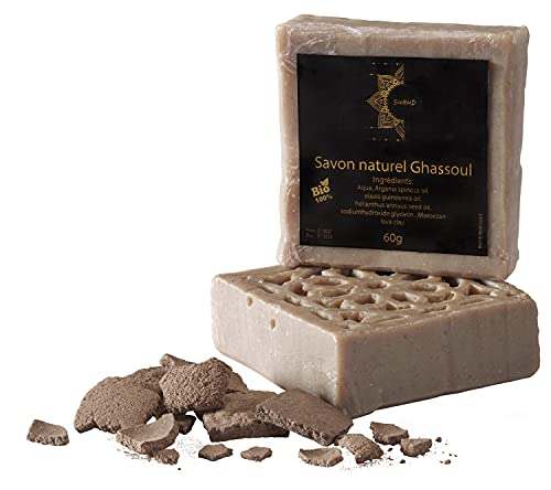 SHAHD© – Savon Naturel BIO 60g à base d'huile de Rhassoul (Ghassoul) Pressée à Froid –...