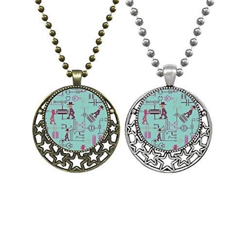 Schaltplan Steckdose Stecker Muster Liebhaber Halsketten Anhänger Retro Mond Sterne Schmuck