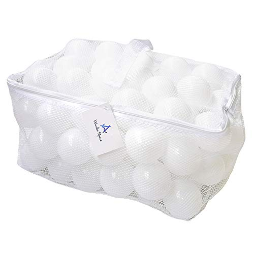 Wonder Space Soft Pit Balls, Chemical-Free Crush Proof Plastic Ocean Ball, BPA Free with No Smell, Safe for Toddler Ball Pit/ Kiddie Pool/ Indoor Baby Playpen, Pack of 100 (Pure - White)