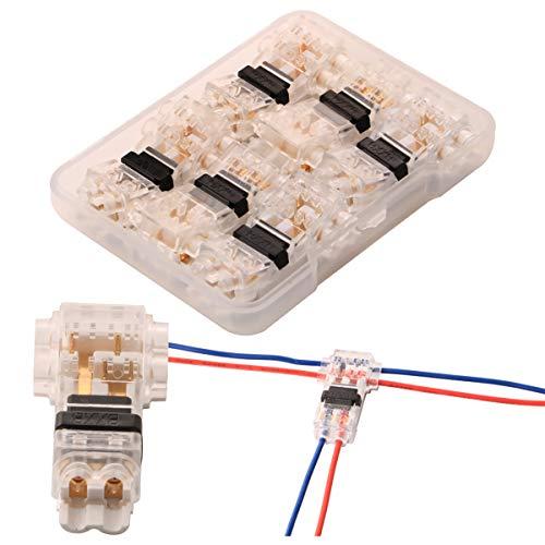 Conectores de Cable de Empalme rápido Tipo T Piezas de terminales de Cable sin Soldadura de bajo Voltaje de 2 Pines para Alambre de Calibre 20-22 (6 PCS)