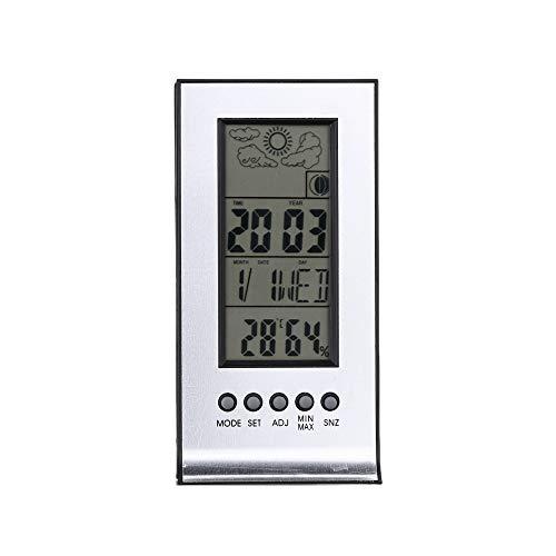 Leepesx Multifuncional Termómetro higrómetro Exterior/Interior Humedad Digital Medidor de Temperatura Monitor Reloj Despertador Calendario Pantalla LCD