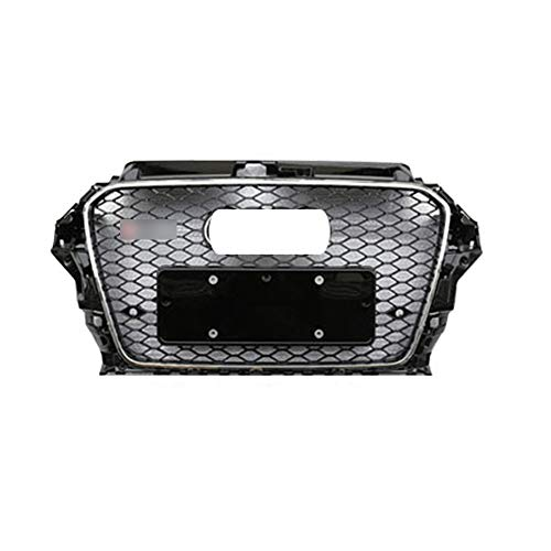 PPCP Parrilla Frontal, Parrilla Honeycomb para Audi A3 S3 8V 2013-2016 RS3 Estilo Malla Negra con Emblema,Cromo