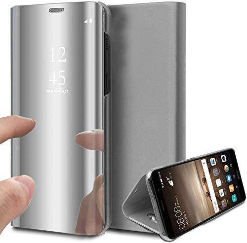 Oihxse Case Compatible Galaxy A30s Coque Ultra Mince Placage Élégant Mode Miroir 360° Protection Housse Stand Flip View Translucide Cuir PU Dur PC Anti Choc Etui Bumper (Argent)