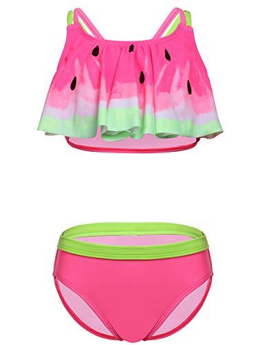 DUSISHIDAN Bikini KinderMädchen Zweiteiliger Bademode Süß Badeanzug Zurück überqueren Rosa Wassermelone XL