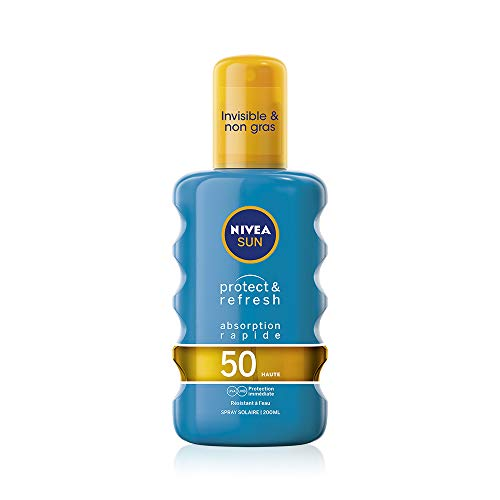 NIVEA SUN Spray solaire Protect & Refresh FPS 50 (1x200 ml), protection solaire 100% transparente résistante à l'eau, écran solaire non gras absorption rapide