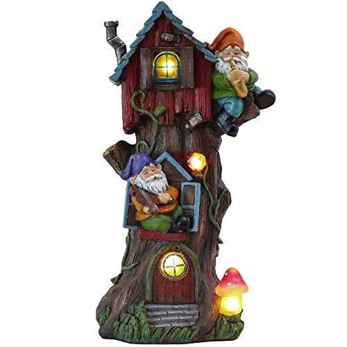 TERESA'S COLLECTIONS 37cm Adorno de Jardín Casa de Hadas Luz Solar LED, Decoracion de Jardin de Casa del árbol de Resina de Vivienda de Gnomo, Decoracion de Navidad para Hogar