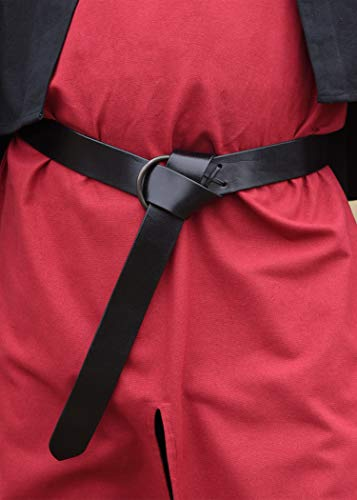 Kräftiger Schwarzer Mittelalter-Ledergürtel mit Messingring extralang Wikinger LARP Ledergürtel LARP Gürtel Mittelalter verschiedene Längen (150 cm) - 3