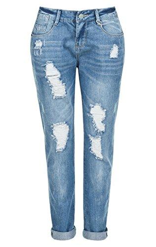 Sublevel Damen Damen DOB Hose Damen Boyfriend Jeans, Middle Blue, XS