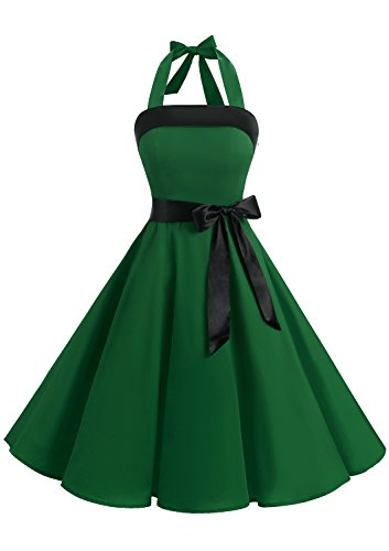 Timormode 10212 Vintage Kleid Knielang Retro Cocktailkleid Neckholder Swing Faltenrock M Grün
