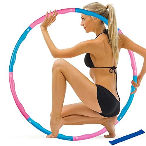 Two-Brother Aro Hula de pérdida de peso – 8 secciones desmontable aro de ejercicio para mujeres perder peso con banda portátil suave de alta calorías y resistencia (azul)