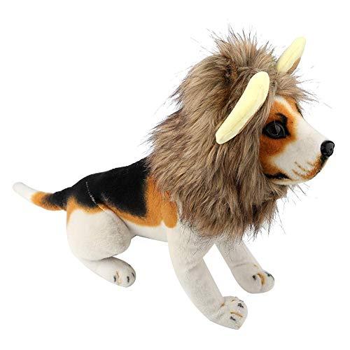 Fdit Hund Hut Lustige Wintermütze Niedlichen Löwen Stil Mähne Perücke Herbst Warmer Kopfschmuck für Haustier Hund Katze Halloween Thema Party Kostüm (M)