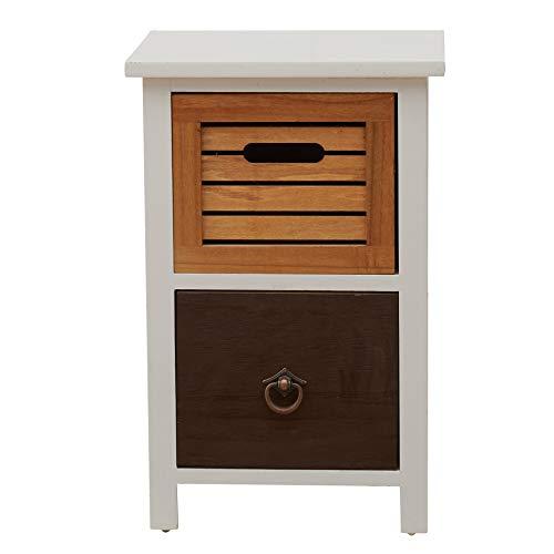 Rebecca Mobili Comodino piccolo bianco marrone, cassettiera 2 cassetti Urban, legno marrone bianco, vintage shabby, per camera da letto bagno - Misure: 47 x 31 x 27 cm (HxLxP) - Art. RE4314